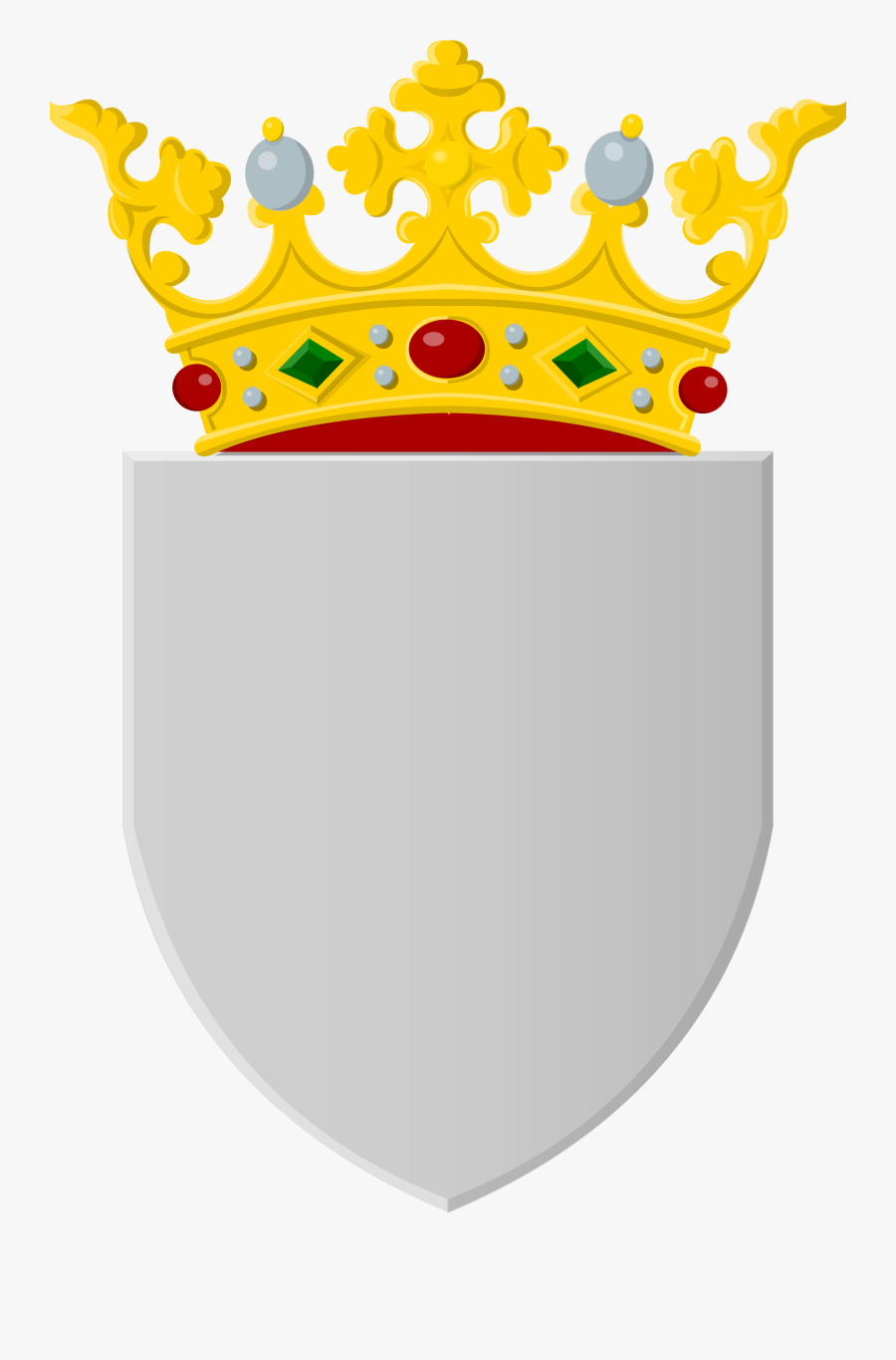 Silver Shield With Golden Crown - Crown Shield, Transparent Clipart
