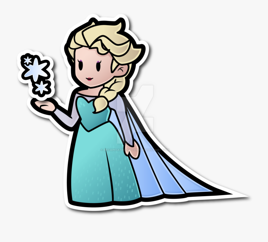 Elsa As A Paper Doll Drawing By - Paper Mario Characters Girls, Transparent Clipart