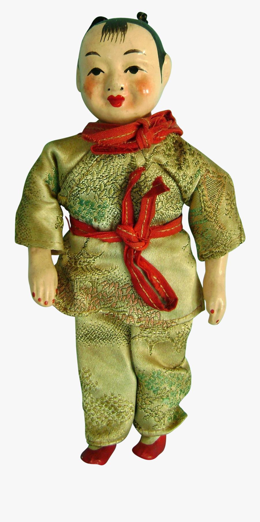 Vintage Antique Chinese Paper Papier Mache & Cloth - China Doll, Transparent Clipart