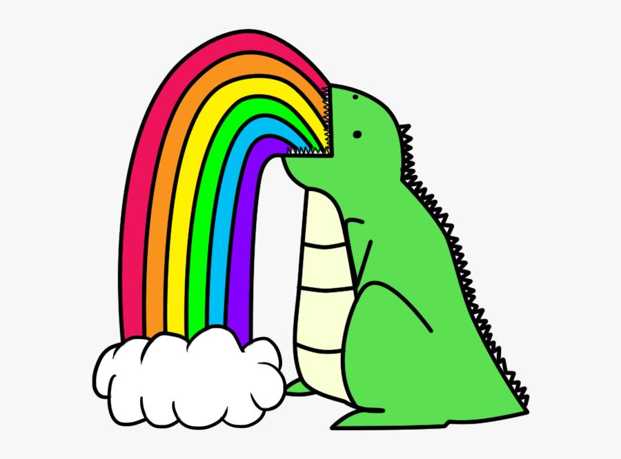 Drawings Of Rainbows Dinosaur Puking Rainbows - Cloud Barfing Rainbow Gif, Transparent Clipart