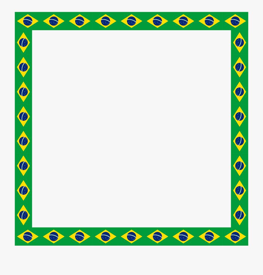 Pele Brazil Flag Border Illustration - Brazil Flag Border Paper, Transparent Clipart
