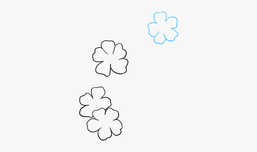 How To Draw Cherry Blossoms - Line Art, Transparent Clipart