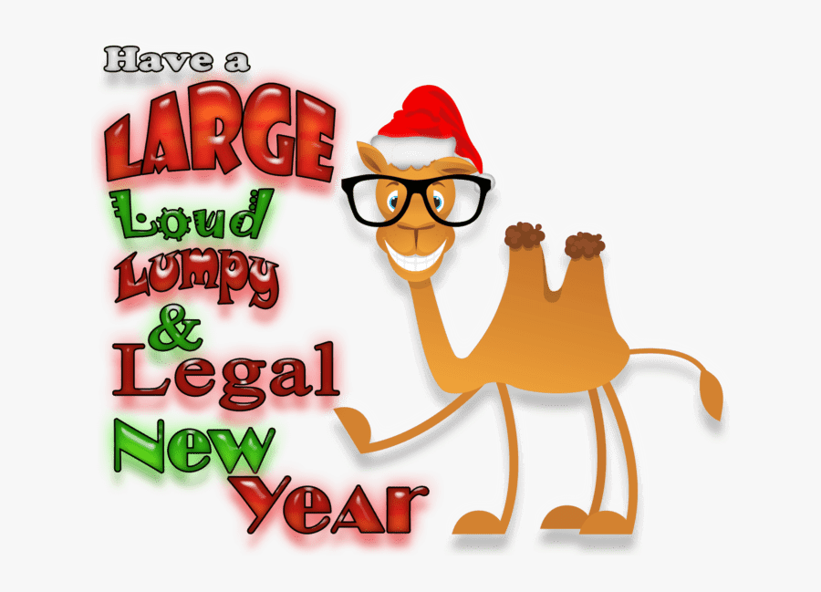 Cartoon Camel Wearing Glasses And A Santa Hat Pointing - Cartoon, Transparent Clipart
