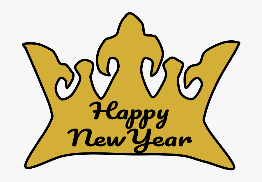 Crown, Gold, Happy New Year Lettering, Transparent Clipart