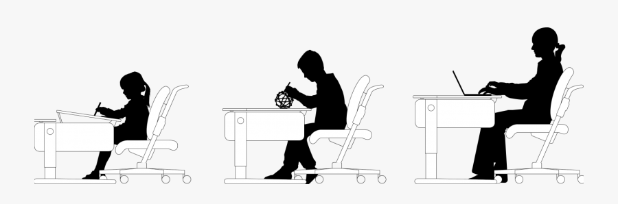 Children Studying Silhouette, Transparent Clipart