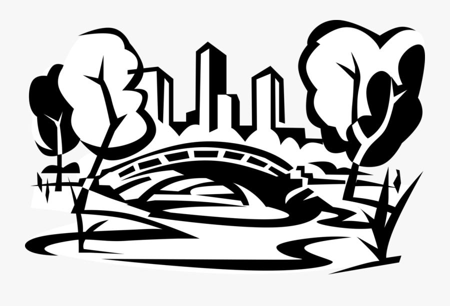 Vector Illustration Of Central Park Bridge, New York - Central Park Png Ny, Transparent Clipart