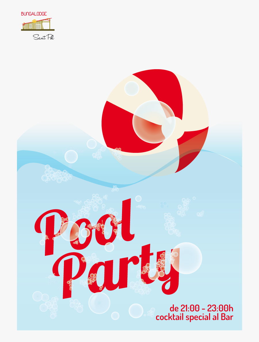 Clip Art Pool Party Flyer Templates Free - Graphic Pool Party Poster Design, Transparent Clipart