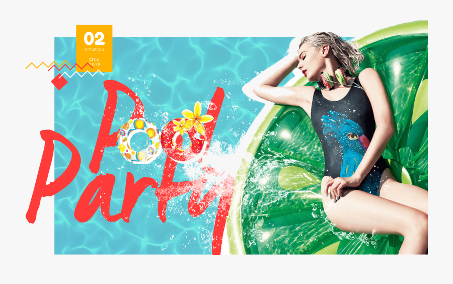 Pool Party Countdown - Girl, Transparent Clipart