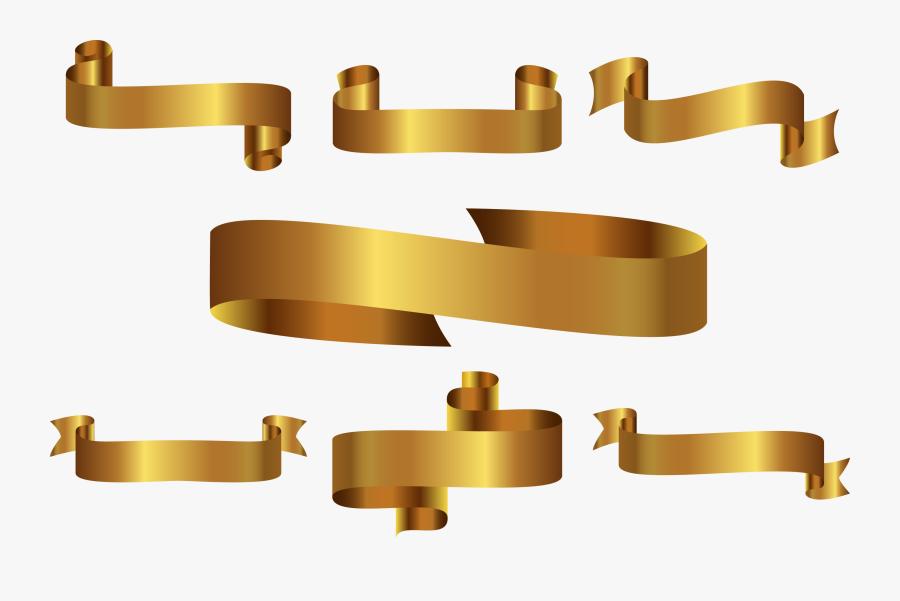 Vector Golden Ribbon Label Png Download - Gold Ribbon Vector Png Hd, Transparent Clipart