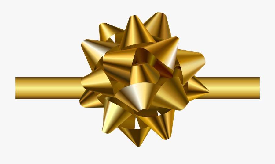 Transparent Png Clip Art - Gold Christmas Bow On Transparent, Transparent Clipart
