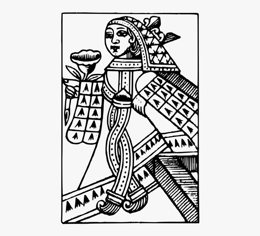 Art,monochrome,human Behavior - Playing Card Queen Vector Free, Transparent Clipart
