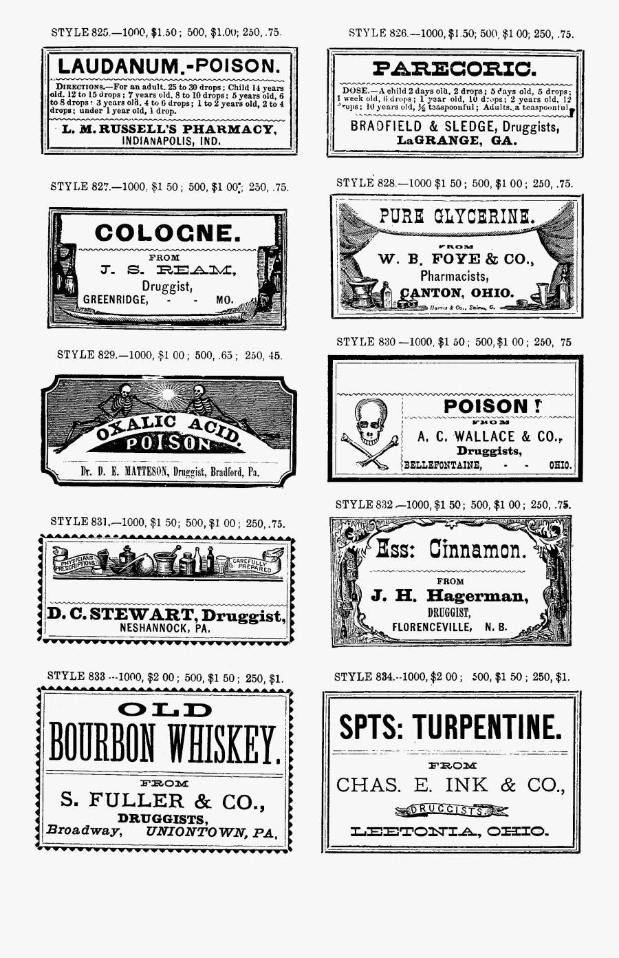 Label Clipart Apothecary - Civil War Medicine Labels, Transparent Clipart