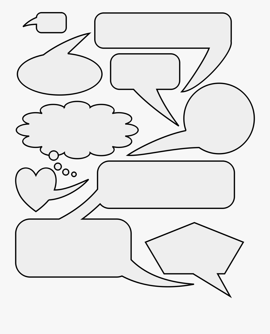 Speech And Bubbles Big - Line Art, Transparent Clipart