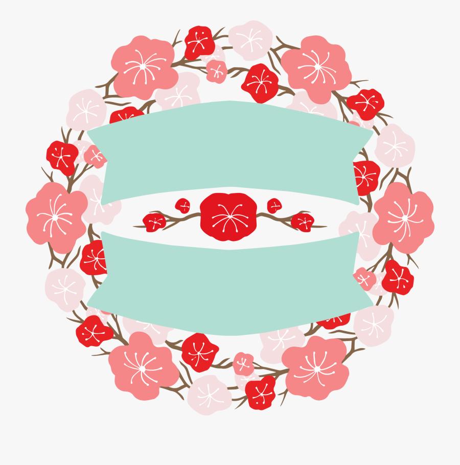 Japan Design Flower Banner Labels Round Two - Floral Design, Transparent Clipart
