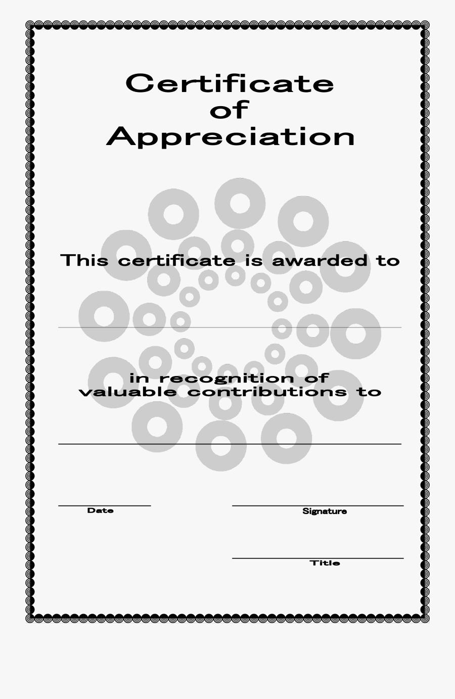 Certificate Of Appreciation Template Certificate Of - Appreciation Certificate Templates, Transparent Clipart