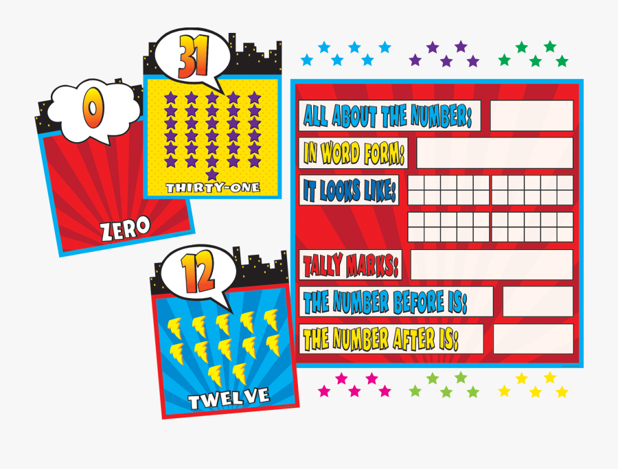 Superhero Counting 0 31 Bulletin Board - All About The Number Bulletin Board Set, Transparent Clipart