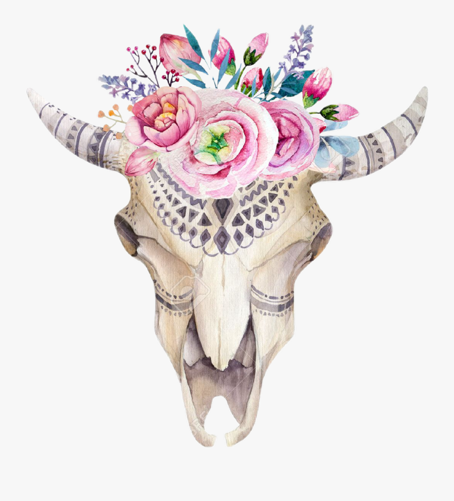 Transparent Bull Head Clipart - Cow Skull And Flowers, Transparent Clipart