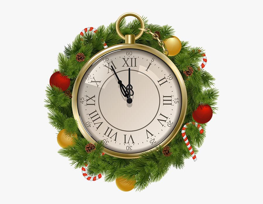 2019 New Year Snowy Clock Png Clip Art New Year S Eve - Christmas Clock Png, Transparent Clipart
