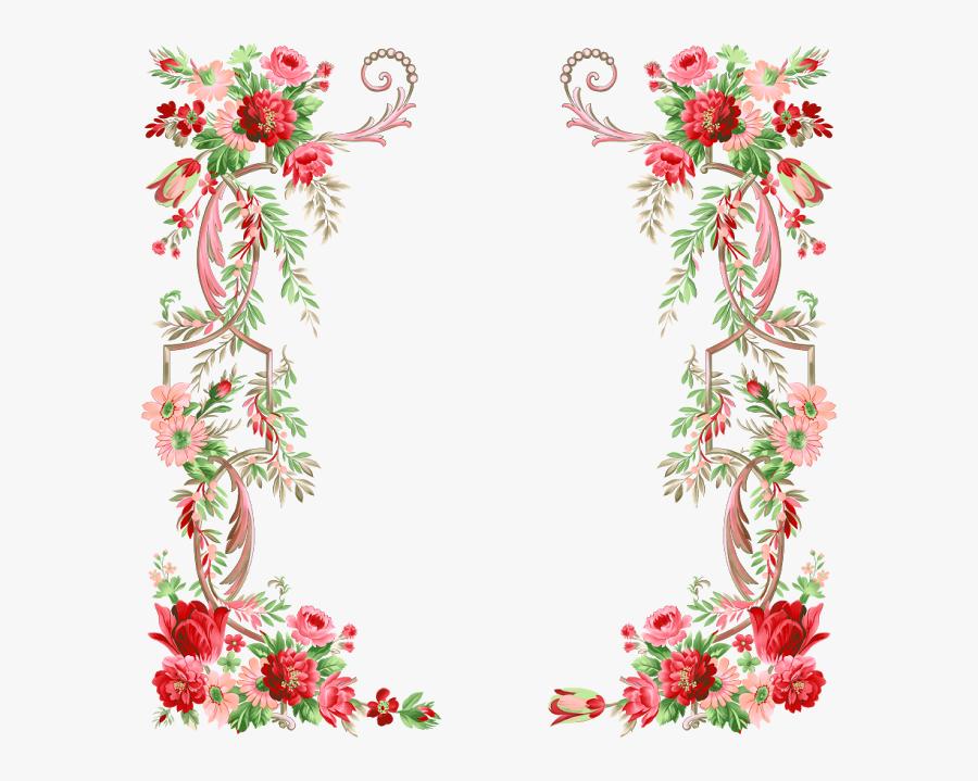 Bloemen Frames Border Design, Decoupage, Floral - Floral Border Design Png, Transparent Clipart