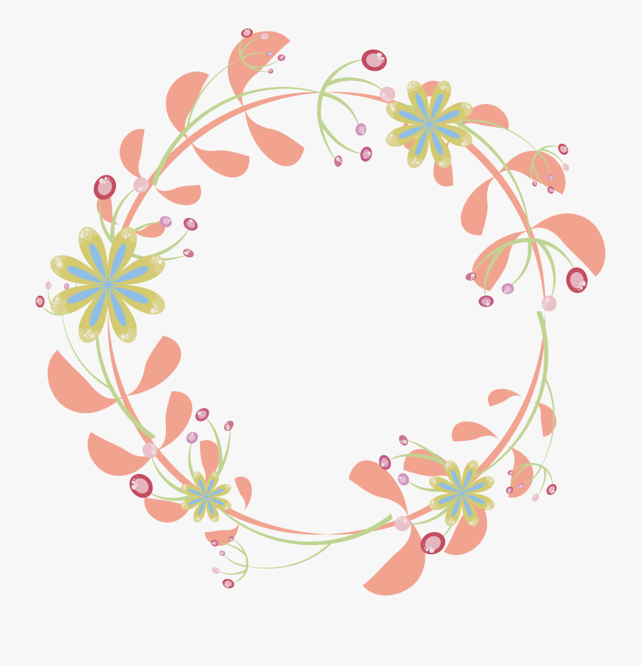 Border Flowers Pink Rattan Round Transprent Png - Flower Frame Silhouette Png, Transparent Clipart