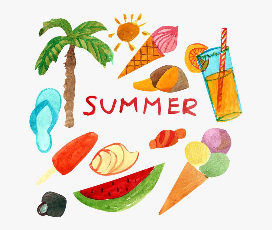 Summer, Vacation, Beach, Sea, Watermelon, Ice Cream, Transparent Clipart
