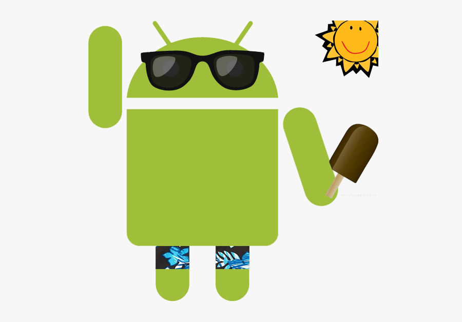Android On Summer Vacation - Android Vacation, Transparent Clipart