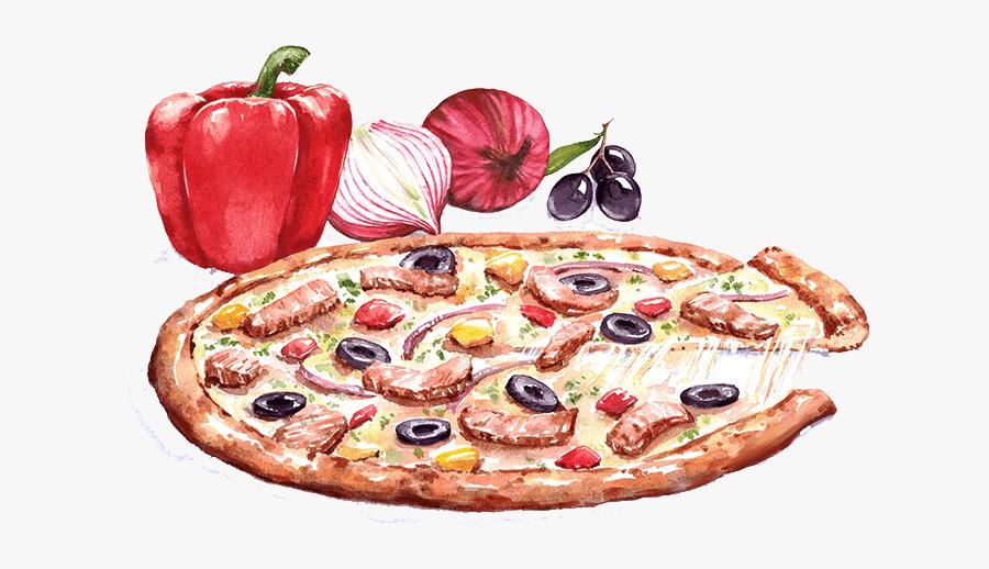 Pizza Watercolor Illustration, Transparent Clipart