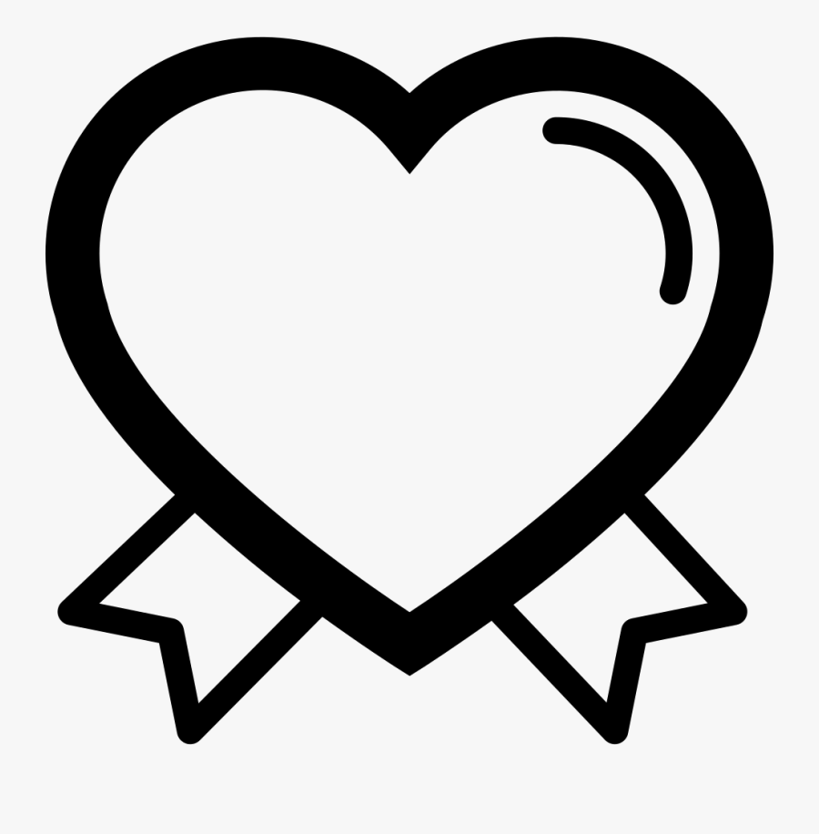 Jpg Black And White Valentines Outline With Ribbon - Valentines Shapes Outline, Transparent Clipart