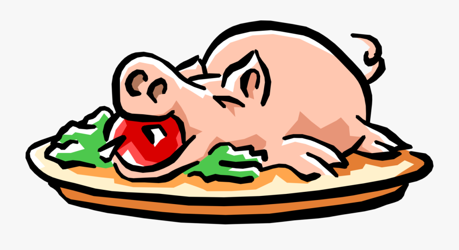 Roast Pig With Apple - Pig With Apple In Mouth Drawing, Transparent Clipart
