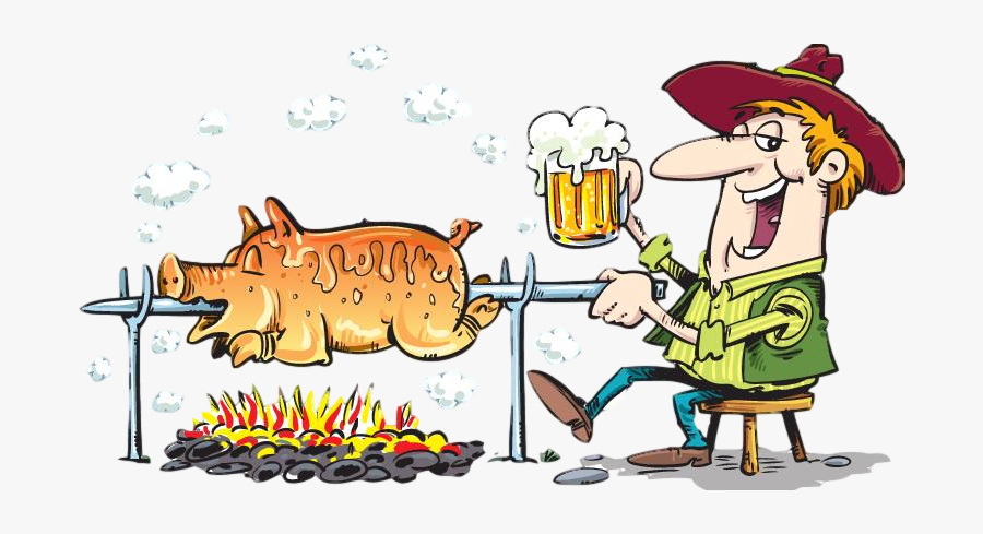 Pig Roast And Beer, Transparent Clipart