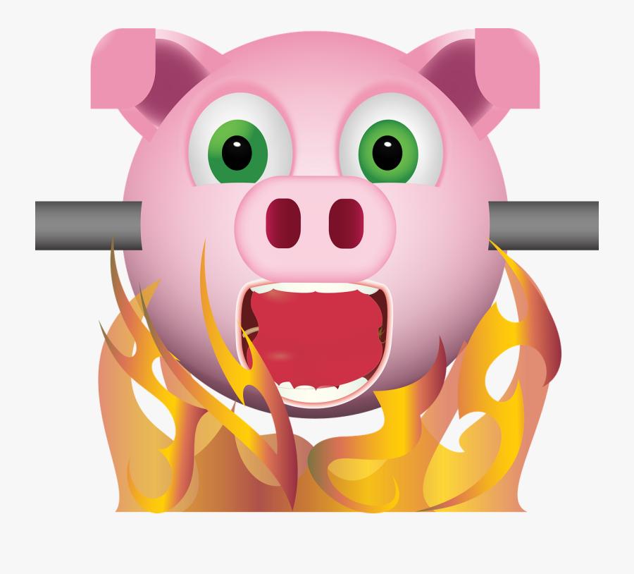 Graphic, Pig On Spit, Emoji, Emoticon, Smiley - Spit Roast Emoji, Transparent Clipart