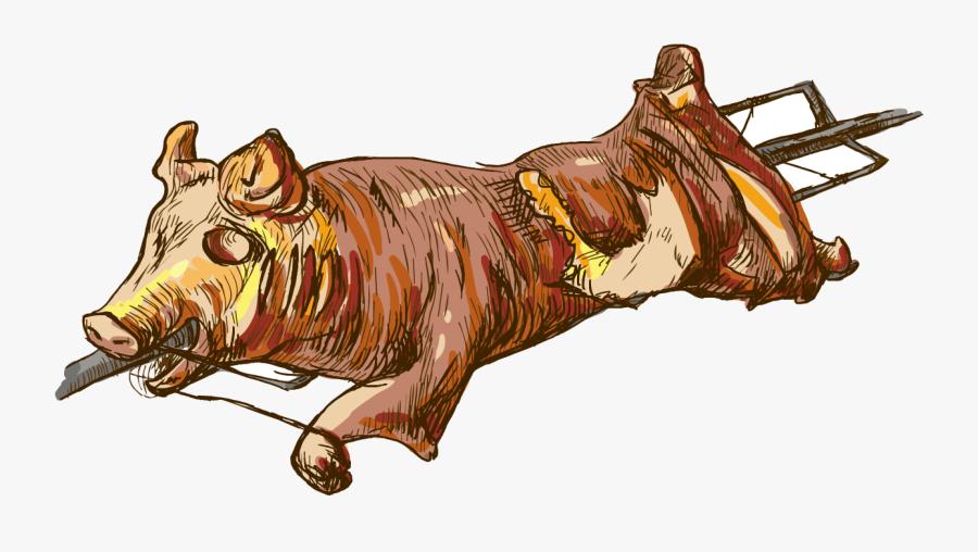 Pig Roast Suckling Pig Roasting Illustration - Roasted Pig Png, Transparent Clipart
