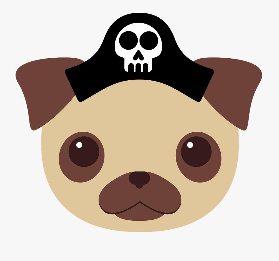 Dog, Pug, Animals, Cute, Puppy, Pirate, Hat, Cartoon - Fabric Design For A Bag, Transparent Clipart