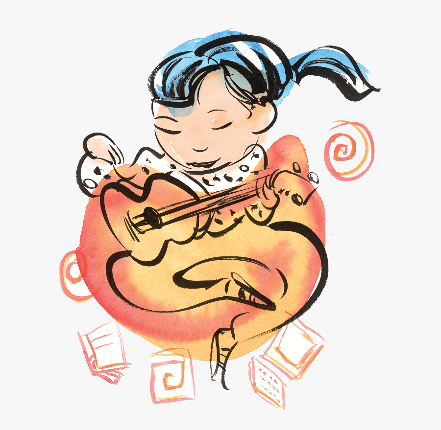 Girl Playing Guitar - End Of Summer Library Program, Transparent Clipart