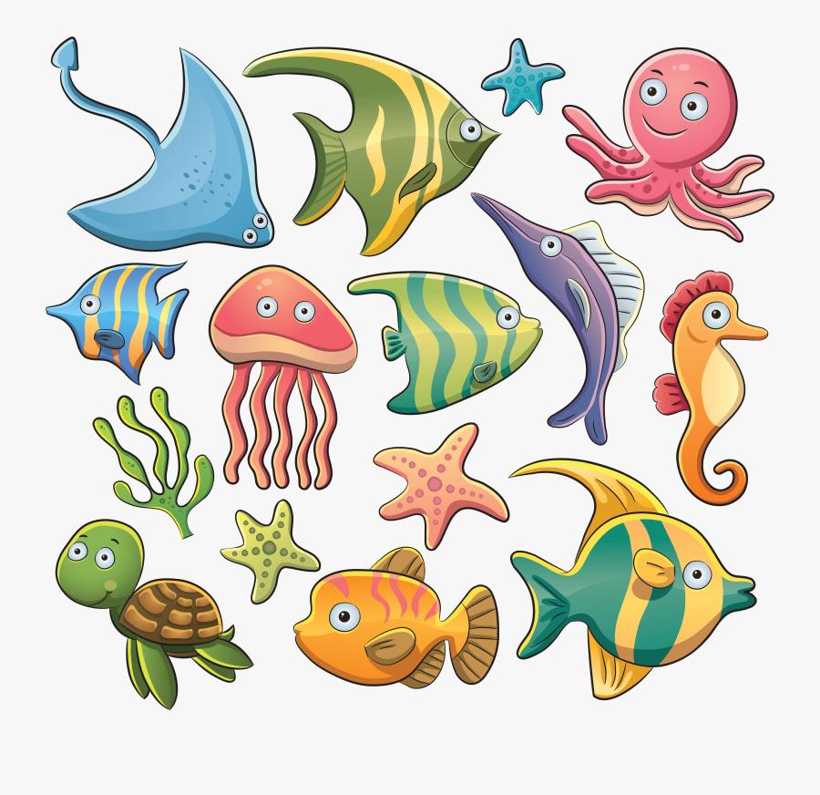 Aquatic Animal Sea Clip Art - Cartoon Marine Animals, Transparent Clipart