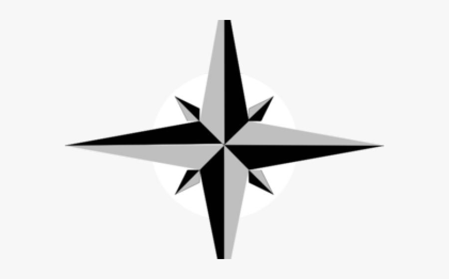 Compass Clipart North Star - Compass Rose Star, Transparent Clipart