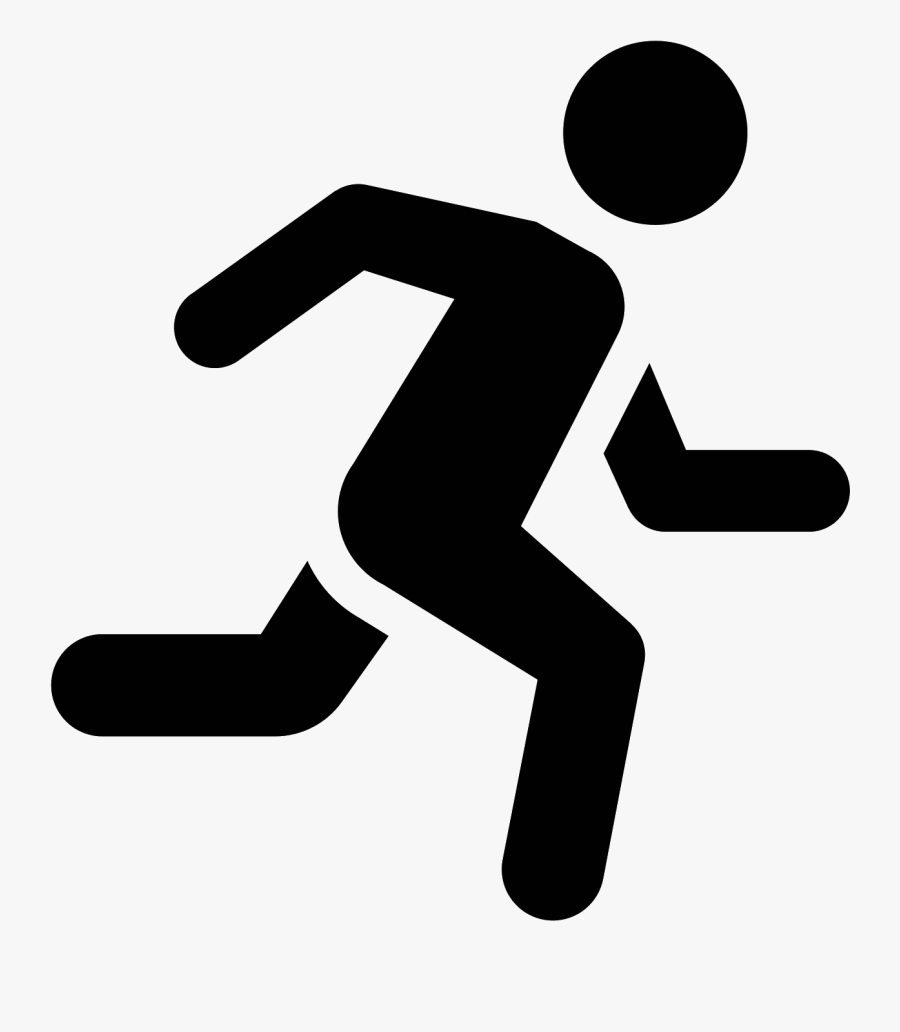 Computer Icons Running Man Clip Art - Running Black And White, Transparent Clipart