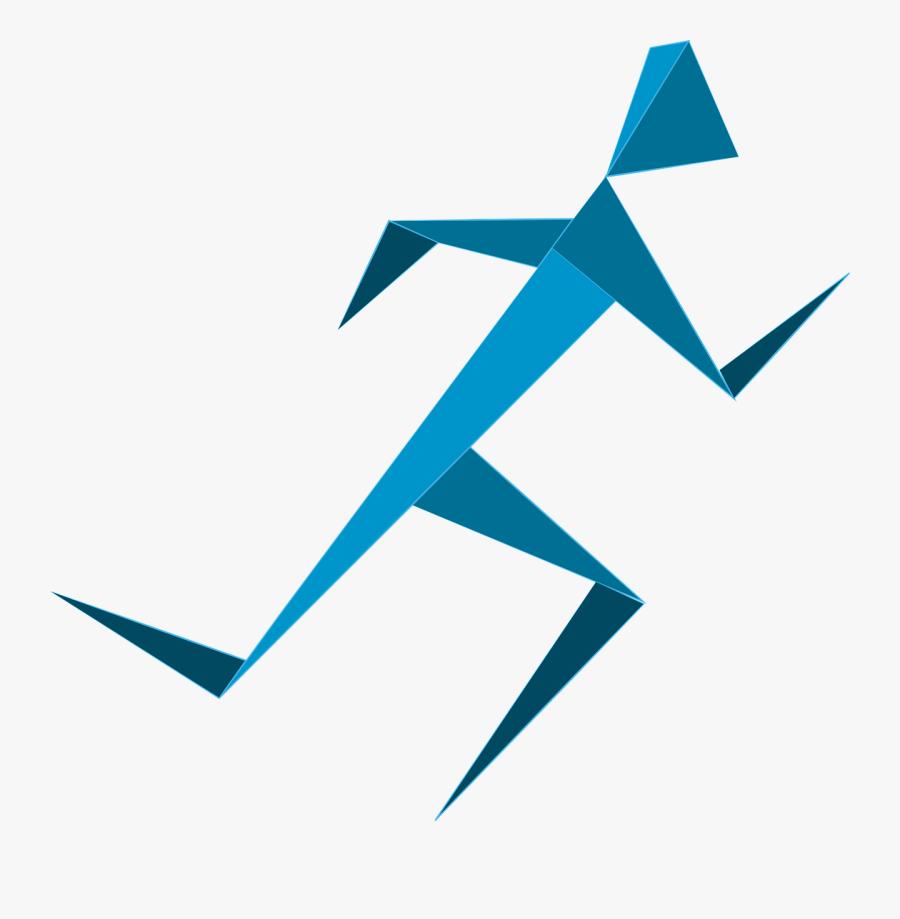 Blue Running Man, Transparent Clipart