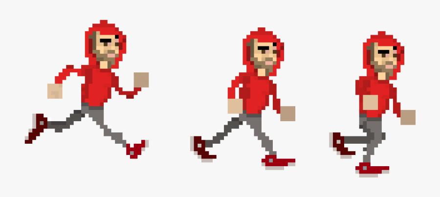 Man Run Pixel Art, Transparent Clipart