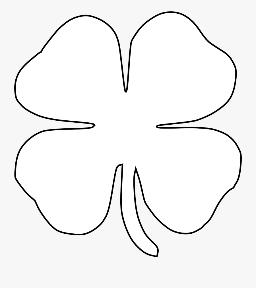 Clover Irish Four Leaves Luck Tattoo - White Four Leaf Clover Png, Transparent Clipart
