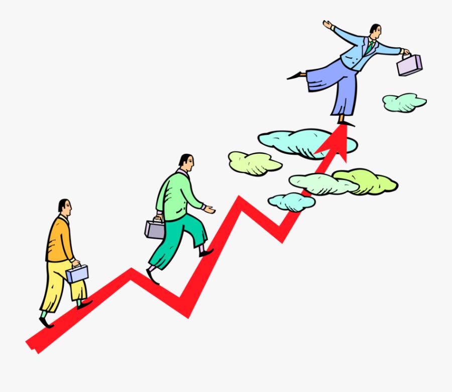 Vector Illustration Of Businessmen Climbing To Top - Climbing Cartoon, Transparent Clipart