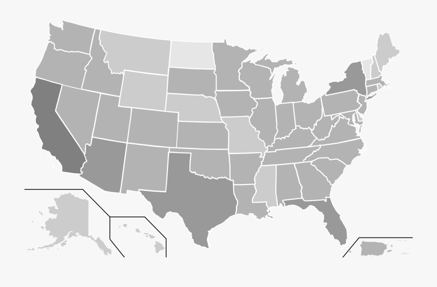 Us State Outlines Transparent - Usa Map Vector Simple, Transparent Clipart