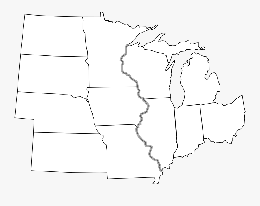 Clip Art Transparent Stock Usa Svg Line Drawing - Midwest Region States Blank Map, Transparent Clipart