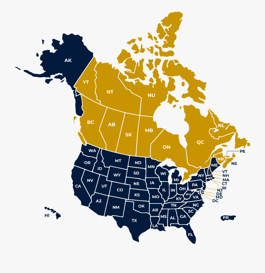 Canada Usa Mexico Map, Transparent Clipart