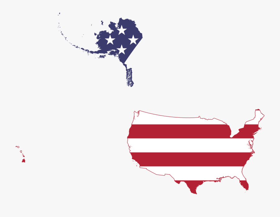 Flag Map Of United States 50 States, Transparent Clipart
