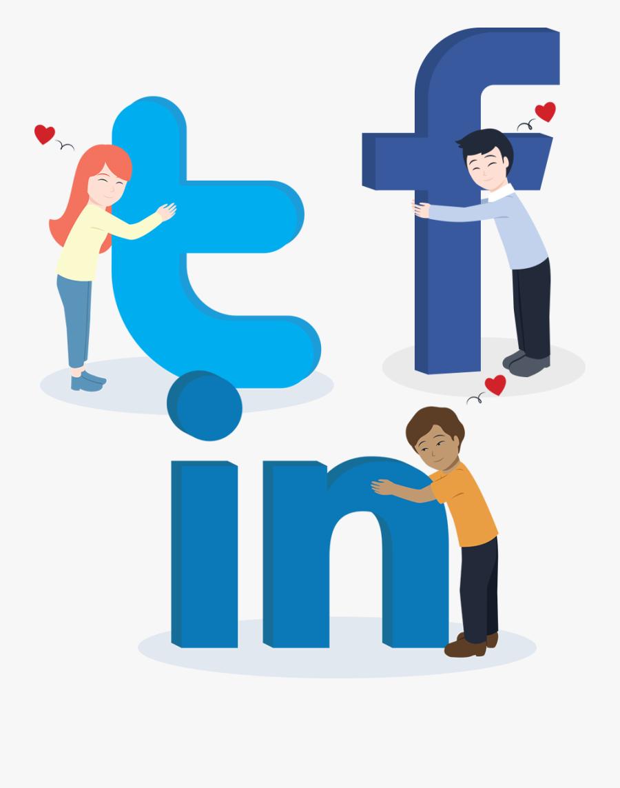 Cartoon People Hugging Social Media Logos - Cartoon Social Media Lovos, Transparent Clipart