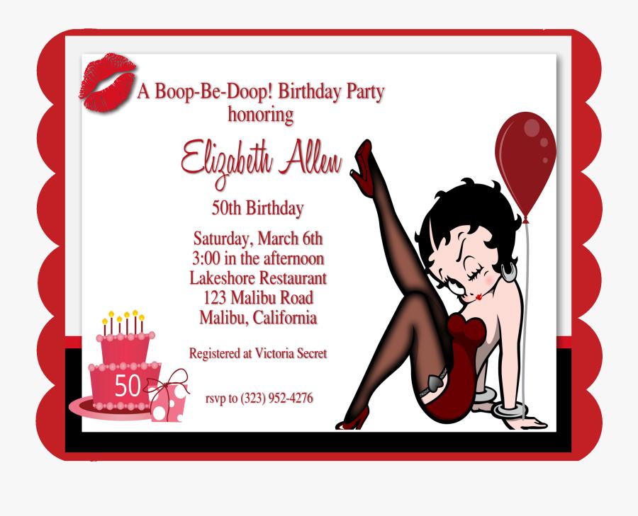 Tarjeta De Invitacion 50 Años Betty Boop Free Transparent