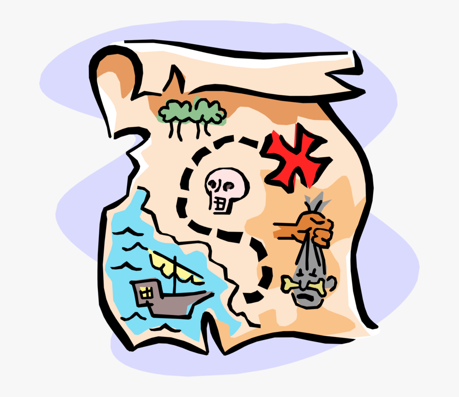 "Vector Illustration Of Buccaneer Pirate""s Treasure - Pirate Treasure Map Clipart, Transparent Clipart"