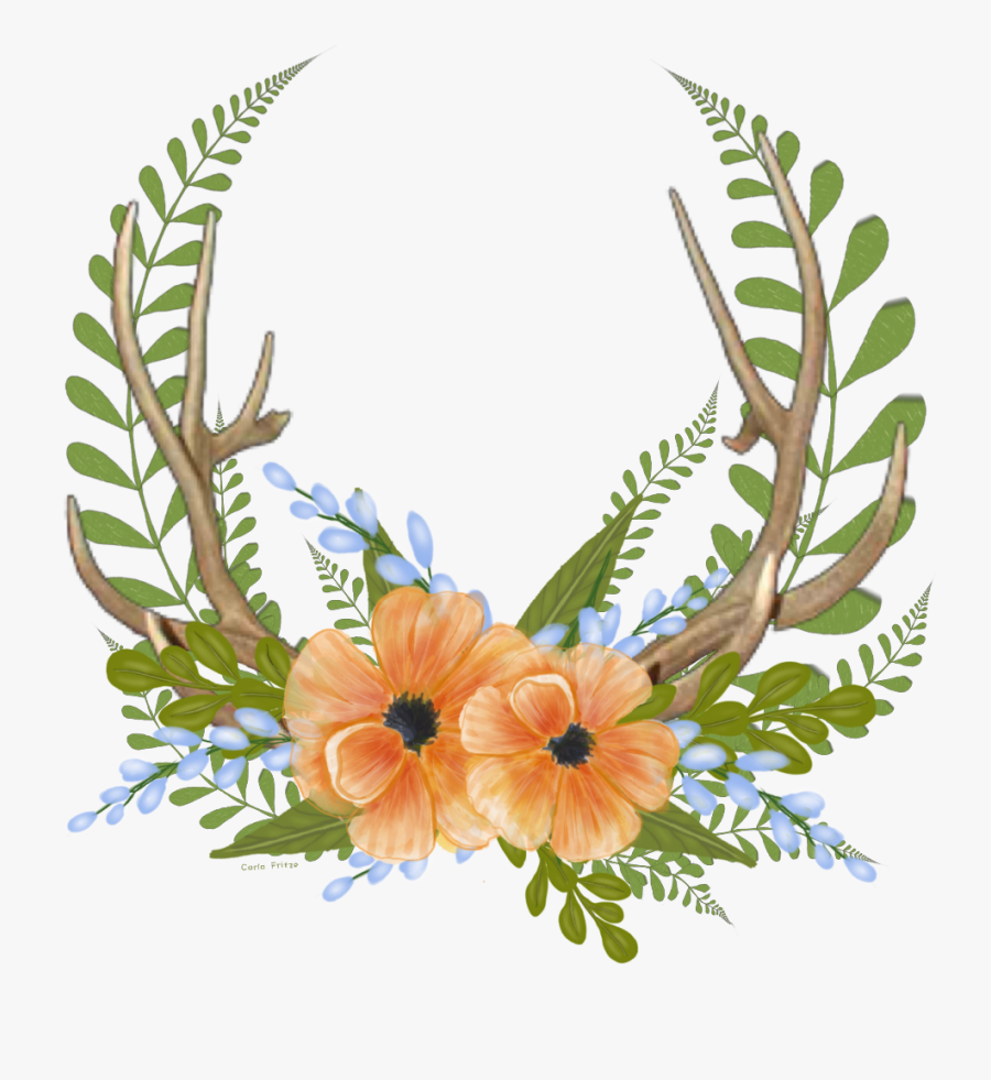 #folwers #antlers #floral #wreath #freetoedit - Portable Network Graphics, Transparent Clipart