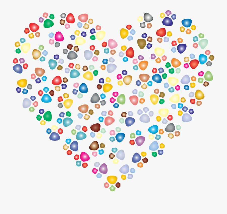 Heart,area,line - Cat Paw Prints Heart, Transparent Clipart